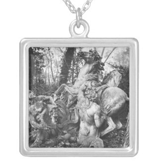Tritons grooming two horses of the sun in grove square pendant necklace
