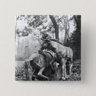 Tritons grooming two horses of the sun in pinback button