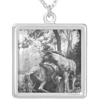 Tritons grooming two horses of the sun in square pendant necklace