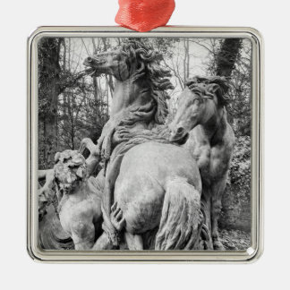 Tritons grooming two horses of the sun metal ornament