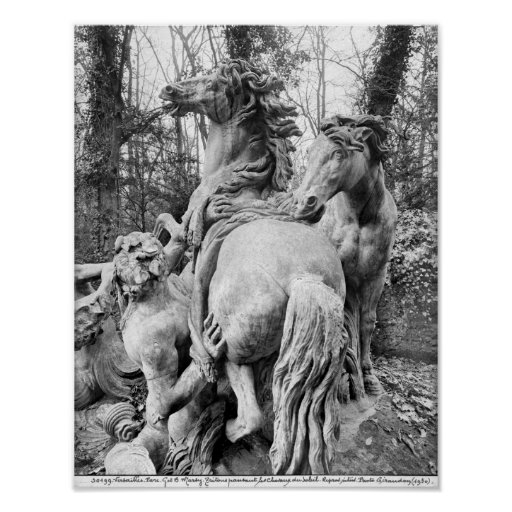 Tritons grooming two horses of the sun print
