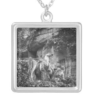 Tritons grooming two horses of the sun square pendant necklace