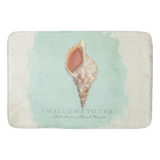 Tritons Trumpet Shell Coastal Personalized Welcome Bathroom Mat