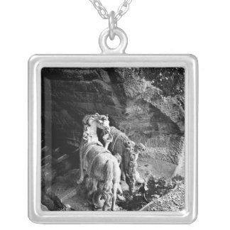 Tritons watering the horses of the sun square pendant necklace