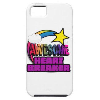 Triturador impresionante del corazón del arco iris funda para iPhone 5 tough