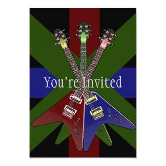 """Trituradora de la guitarra del vuelo V Invitación 5"""" X 7"""""""