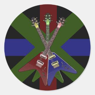 Trituradora de la guitarra del vuelo V Pegatina Redonda