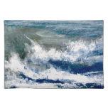 Trituradores en el arte de las olas oceánicas del  mantel
