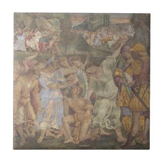 Triumph de la castidad - amor desarmado y limitado azulejo cuadrado pequeño