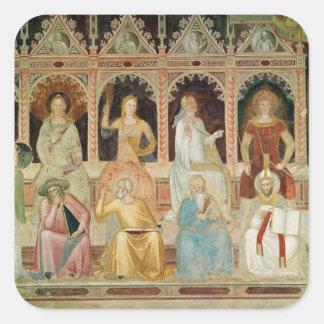 Triumph de la doctrina católica pegatina cuadrada
