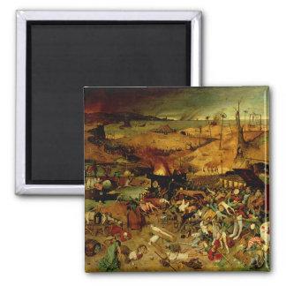 Triumph de la muerte, c.1562 (aceite en el panel) imán cuadrado