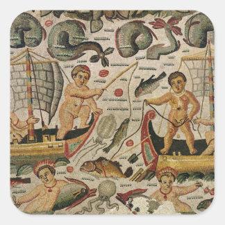 Triumph de Neptuno y de Amphitrite Calcomanías Cuadradas Personalizadas