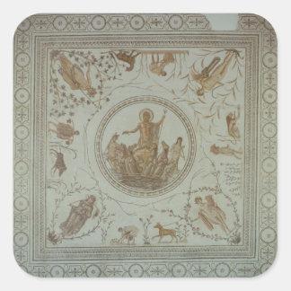 Triumph de Neptuno y de las cuatro estaciones Calcomanía Cuadrada