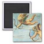 Triumph of Galatea, Angels detail by Raphael 2 Inch Square Magnet