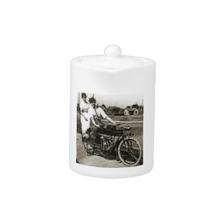 Triumph of Love Dating on a Motorcycle Vintage Teapot