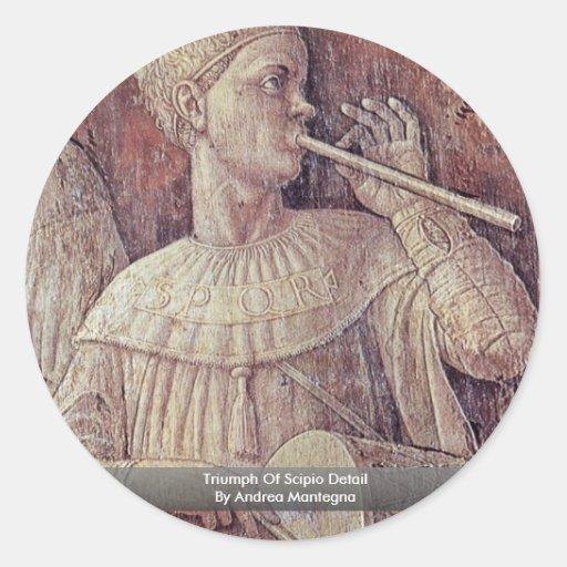 Triumph Of Scipio Detail By Andrea Mantegna Classic Round Sticker