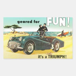 Triumph Tr3 at the Beach Rectangular Sticker