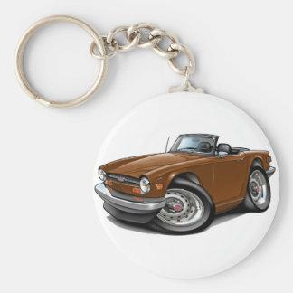 Triumph TR6 Brown Car Basic Round Button Keychain