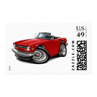 Triumph TR6 Red Car Postage Stamp