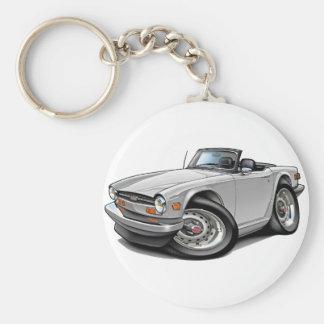 Triumph TR6 White Car Basic Round Button Keychain