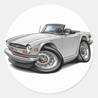 Triumph TR6 White Car Round Sticker