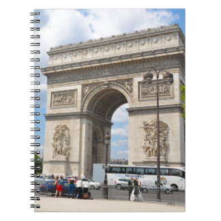 Triumphal Arch on Champs Elysees boulevard in Pari Notebook