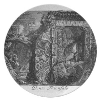 Triumphal bridge by Giovanni Battista Piranesi Dinner Plate