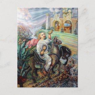 triumphant entrance of Jesus into Jerusalem postcard