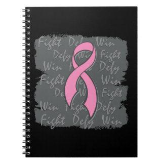 Triunfo del desafio de la lucha del cáncer de pech libro de apuntes con espiral