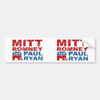 Triunfo del voto del funcionamiento de Romney Ryan Pegatina De Parachoque