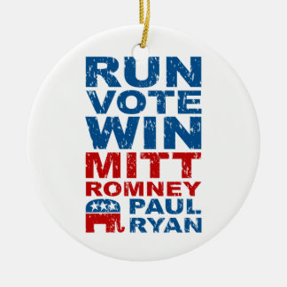 Triunfo del voto del funcionamiento de Romney Ryan Adorno Redondo De Cerámica