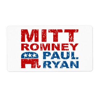 Triunfo del voto del funcionamiento de Romney Ryan Etiquetas De Envío