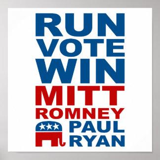 Triunfo del voto del funcionamiento de Romney Ryan Posters