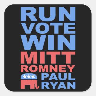 Triunfo del voto del funcionamiento de Romney Ryan Pegatina Cuadrada