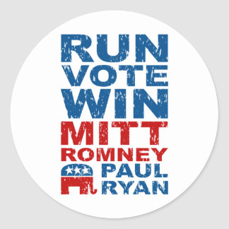 Triunfo del voto del funcionamiento de Romney Ryan Pegatina Redonda