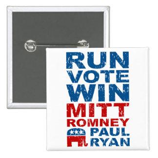 Triunfo del voto del funcionamiento de Romney Ryan Pin Cuadrado