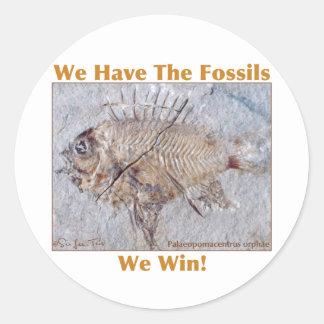 Triunfo fósil pegatina redonda