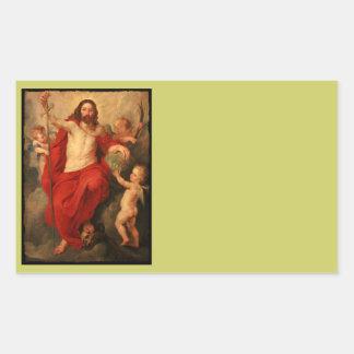Triunfos de Cristo sobre muerte y pecado Pegatina Rectangular