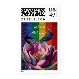 Triunfos del amor de Lotus de los pavos reales del Timbres Postales
