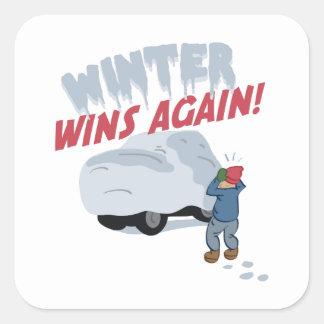 Triunfos del invierno del coche pegatina cuadrada