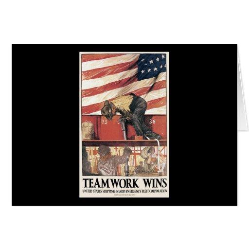 Triunfos del trabajo en equipo felicitación