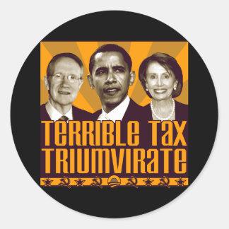 Triunvirato terrible del impuesto pegatina redonda