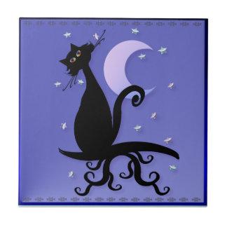 Trivet-Teja de medianoche del gatito Azulejo Cuadrado Pequeño