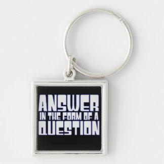 Trivia Fan Silver-Colored Square Keychain