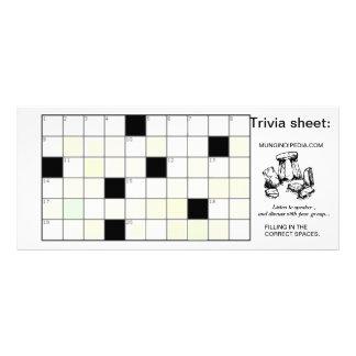 Trivia sheet rack card