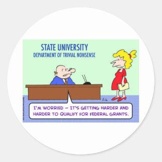 trivial nonsense federal grants classic round sticker