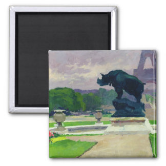 Trocadero Gardens and Rhinoceros by Jacquemart Magnet