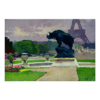 Trocadero Gardens and Rhinoceros by Jacquemart Poster
