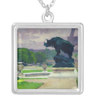 Trocadero Gardens and Rhinoceros by Jacquemart Silver Plated Necklace