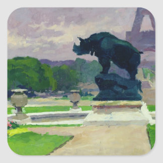 Trocadero Gardens and Rhinoceros by Jacquemart Square Sticker